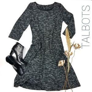 Talbots - New Black White Knit Sweater Dress 8